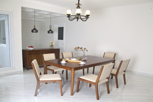 The Stockholm is a Scandinavian-inspired design offering a more natural, no-fuss feel to your space, usually done in lighter wood stain. <br>  <br>Items:  <br>Dining Table for 6 - Size: 180x105x75H cm. <br>Dining Chairs - Size: 50x54x87H cm. <br>Sideboard - Size: 150x50x90H cm