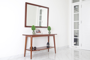 The Stockholm is a Scandinavian-inspired design offering a more natural, no-fuss feel to your space, usually done in lighter wood stain. <br>  <br>Items:  <br>Console Table - Size: 140x45x87H cm <br>Mirror - Size: 125x90H cm.